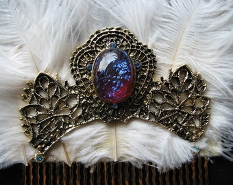 Opal hair comb | dragons breath | feather hairpiece | ostrich feathers | something blue | gold headpiece | vintage style