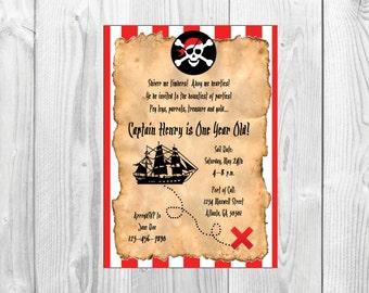 Pirate Birthday Party Invitation << Treasure Map Invitation >> Nautical Birthday Party Invite >> Custom Printable Digital File