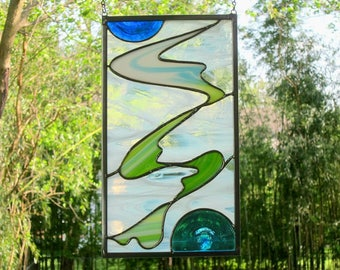 Blue Green Stained Glass Panel White Abstract Stained Glass Sun Catcher Handmade