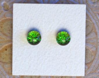 Dichroic Glass Earrings, Forest Green  DGE-1202