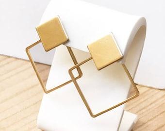 Golden Rhombus Earrings. Geometric and minimal