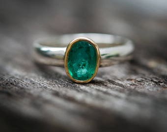 Emerald Ring Size 7 - Emerald Jewelry - Engagement Ring Alternative - 14k Gold & Sterling - Emerald Ring - Natural Emerald Ring Size 7