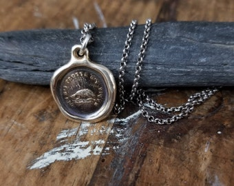 Bronze Hedgehog Wax Seal Necklace - Not without my defences - Don't rub me the wrong way. - 266