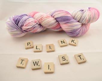 """Hand-dyed yarn, """"Plink Twist"""", variegated, soft and squishy yarn. Great for socks or shawls. 80/20 Superwash wool/Nylon"""