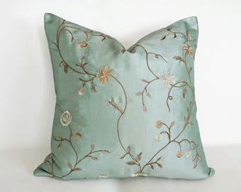 Aqua Pillow Cover, Aqua Pillows, Blue Decorative Pillow, Floral Throw Pillow, Luxury Pillows, Embroidered, Lumbar Pillow, 14x20, 18, 20 inch
