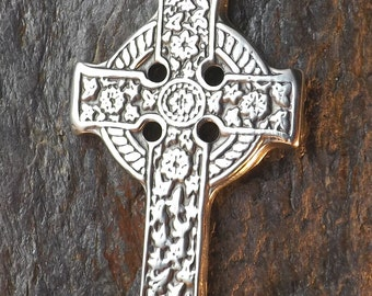 Celtic Floral Cross- Pewter Pendant - Celt Christian Jewelry  - Poured by hand in America