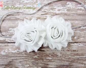 White Flower Headband, Chiffon Rosettes Duo Headband or Hair Clip, Baptism, Christening, Newborn Baby Infant Toddler Child Girls Headband
