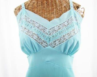 1940s Aqua Blue Dress Slip Paper Label Unworn Size 38