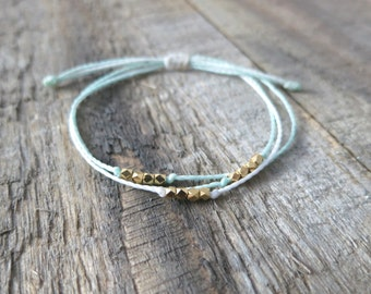 Three Layer Gold Nugget Bracelet in Seafoam and White