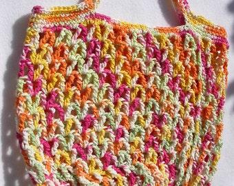 Pink, Yellow, Orange, Green, White Market Bag, Tote, Beach Bag, Gym Carrier