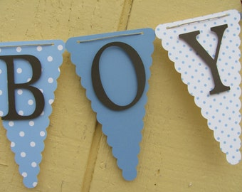 Its a Boy Banner Baby Shower Decorations, Blue, White and Brown