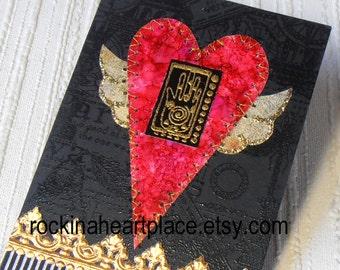 ACEO -  Flying Heart with Hamsa - original art card