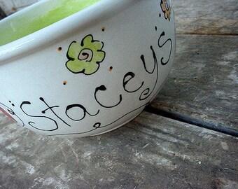 Pottery bowl Personalized ice cream bowl ceramic pottery custom cereal bowl popcorn bowl salad bowl kids teen adult custom ice cream bowls