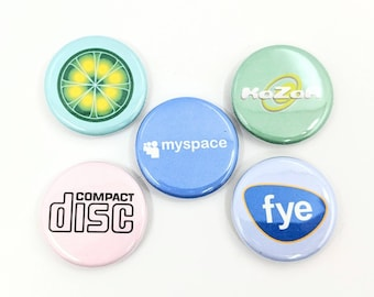 """5 Pack 1.25"""" Millennial Music Vaporwave Aesthetic Pin-back Buttons or Magnets"""