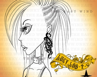 Digital Stamp- 'Lucy Loo' Braided Side - 300dpi JPEG/ PNG - MAC0051