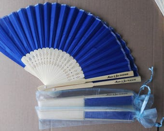 SILK FANS with Organza Bag, Bamboo Fans, Wedding Favors, Bridal Shower, Quinceanera, Birthdays, Personalized (50, 100, 150, 200, 250)