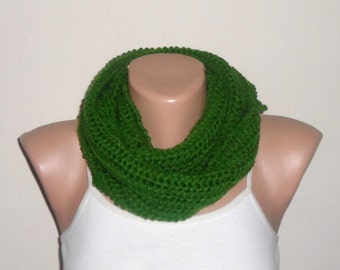 green knit infinity scarf green circle scarf fashion scarf loop scarf hand knit scarf women scarves winter scarf gift for her
