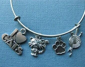 Cat Bangle - Cat Charm Bracelet - Cat Jewelry - Charm Bracelet - Bangle - Cat Lover - Cat - Charm Bangle -- B118