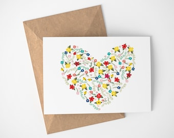 Floral Heart, Heart Card, Card For Mom, Card For Mom Wedding Day, Card For Grandma, Card For Sister, Sister In Law Card, Floral Cards
