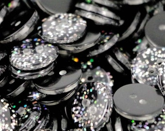 10 x Glitter Resin Buttons Ideal for dance Costumes Black  13mm B141W