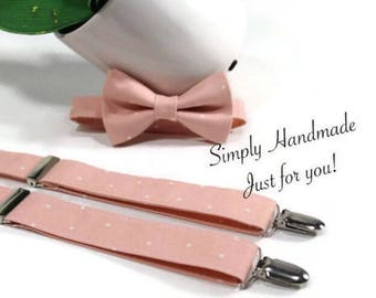 Blush bow tie and suspenders set, Blush suspenders, Wedding suspenders, Toddler Suspenders, Baby Suspenders, Ring Bearer blush suspenders