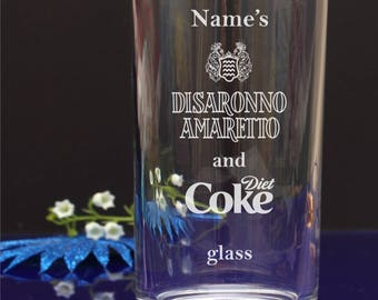 Engraved/Personalised Hiball,Mixer,Tumbler glass. Disaronno Amaretto and Diet Coka Birthday/Christmas/Any party gift 98