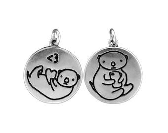 Texting Otter Necklace - Reversible Sterling Silver Otter Pendant - Sea Otter Medallion
