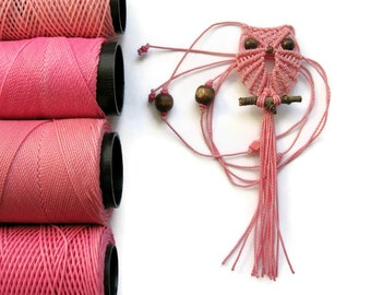 Pink Micro Macrame Owl Necklace