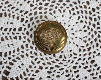 Vintage/gold/mirror/blush/compact/empty. Cara Nome. Cute. Gift/art deco! Vanity deco. 1920s.