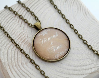 Personalized necklace in round in bronze 46cm