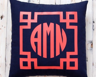 Monogram Pillow - 16 x 16 - Custom Pillow - Personalized Gift - Dorm Decor - Tween Gift - Decorative Pillow Cover - Graduation Gift