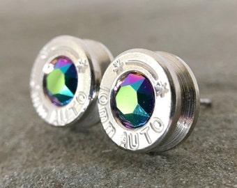 Bullet Earrings in Swarovski Scarab Green