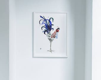 Rooster Limited Edition Farm Art Print from Original // Home Decor Chicken Barnyard Bird //13 x1 9, 11 x 14, 8 x 10