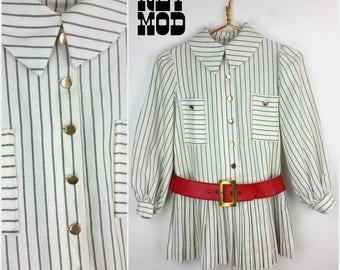 JUNIOR / CHILD SIZE - Way Cool Vintage 60s Mod White & Green Stripe Drop Waist Mini Dress with Red Belt by Dorissa