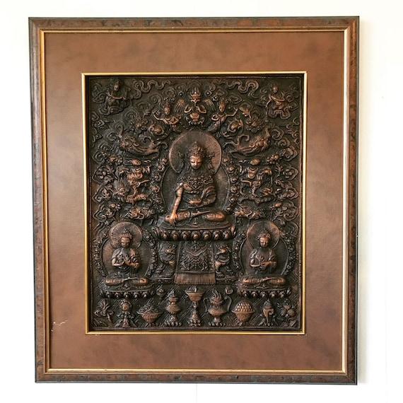 vintage framed Buddha tile - Shakyamuni Padmasambhava - spiritual art - boho zen yoga meditation - faux copper wall hanging