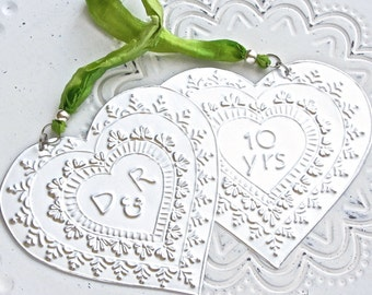 10 Year Wedding Anniversary Decoration, Embossed Metal Hearts Personalised Anniversary Gift