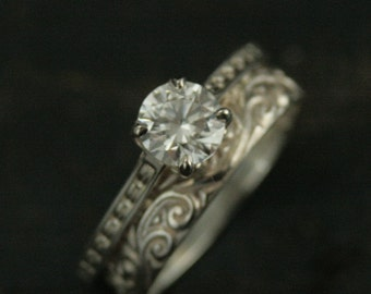 Sterling Silver Bridal Set~Enchanted~Silver Engagement Ring~Cathedral Setting~Cubic Zirconia Ring~Moissanite Ring~White Topaz Ring