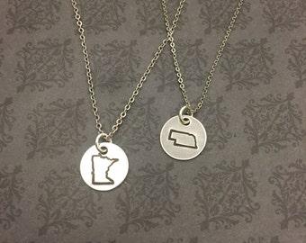 State Simplicity Necklace Minnesota -North Dakota-South Dakota - Nebraska -Iowa