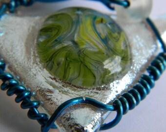 Pendant Fused Glass Triangle Pendant Color Bubble and Silver Dichroic Triangle wire wrap