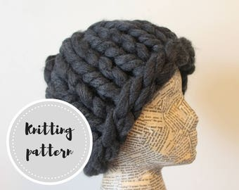 Crazy huge knit hat pattern