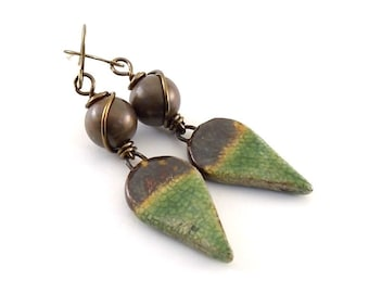 Handmade Earrings, Ceramic Earrings, Rustic Green and Brown Earrings, Artisan Earrings, Boho Earrings, Antique Brass Earrings, Bronze, AE100