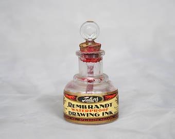 Antique Ink Bottle - Vintage Ink Bottle - Rembrandt Talens Drawing Ink - Vintage Ink Well - Vintage Office Decor - Collectible Glass Bottle