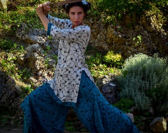 Shipibo printed tunic and trouser set, Shipibo printed clothes, ayahuasca clothes, Sacred geometry kurta and trousers, designer clothes