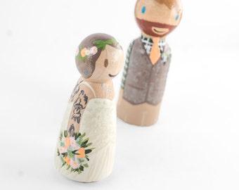 Offbeat Wedding Cake Topper - tattooed couple wedding cake topper - Tattooed bride, rocknroll wedding, custom peg people wedding cake topper