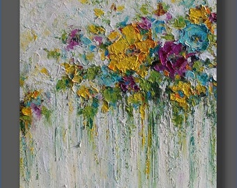 Acrylic Abstract Painting Flowers Painting Original Acrylic Painting Christmas Gift Abstract Flowers Palette Knife Art Painting by Mirjana