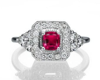 Vintage Ruby Ring, Art Deco Ruby Engagement RIng With Diamonds Halo