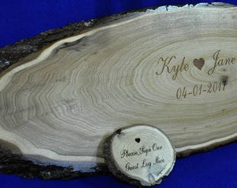 Tree Slice ~ Wedding Guest Book ~ Wood Slab Guest Book ~ Guest Book Alternative ~ Monogram Guest Book ~ Mr and Mrs Sign ~ Wedding Ideas ~