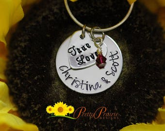 True Love Necklace - Anniversary Gift - Engagement Gift - I Love You Necklace - Hand Stamped Necklace - Valentine's Present for Girlfriend