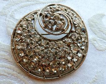 Large Vintage Brooch, Silver Tone, Rhinestones