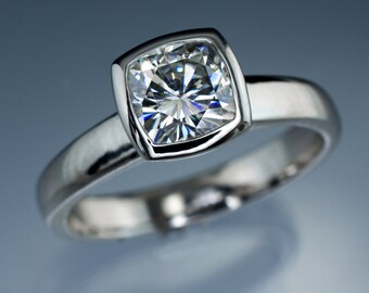 Moissanite Bezel Set Cushion Solitaire Engagement Ring in Palladium - Alternative Engagement Ring, Forever One Moissanite